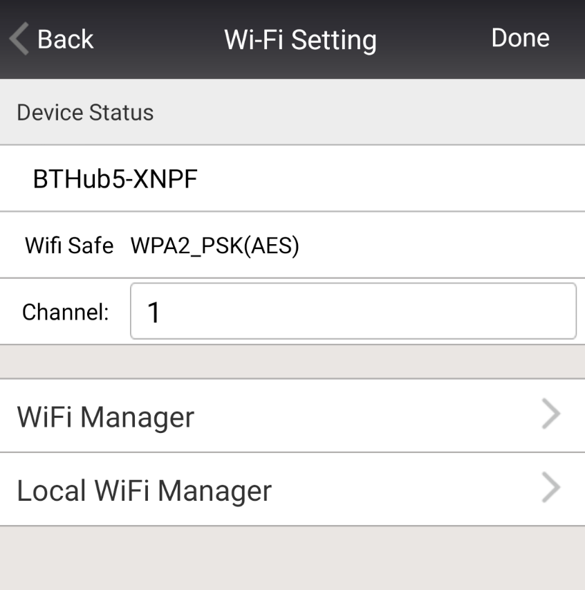 Wi-Fi Setting The Wireless Settings can be set and changed by clicking on this tab.