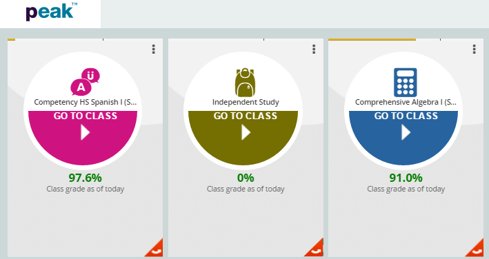 UNDERSTANDING THE PEAK DASHBOARD The PEAK student dashboard provides students with easy visibility of their progress and performance.
