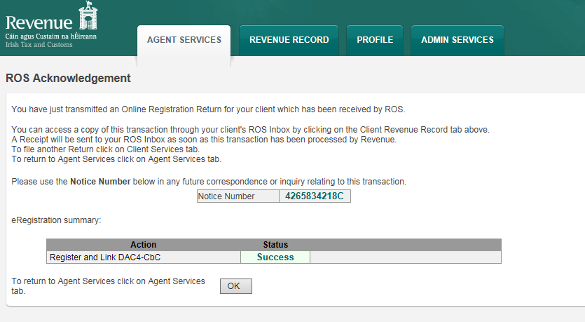 2.1.11 The agent will be redirected to the Sign and Submit screen. Enter the ROS password and click Sign and Submit. 2.1.12 The agent will receive a ROS Acknowledgement and a Notice Number, which the agent may wish to print for the agent s records.
