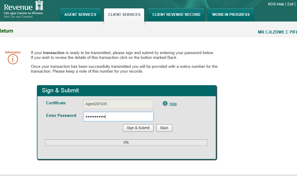 2.2.13 Click Sign and Submit. 2.2.14 The agent will be redirected to the Sign & Submit screen.
