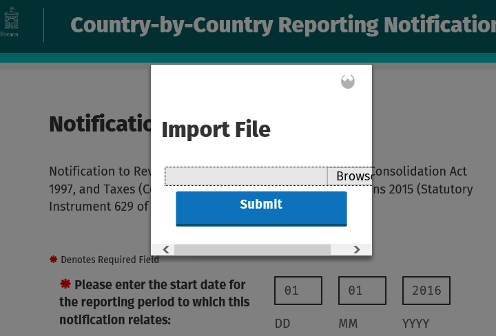 Return to the online form and click Import File.