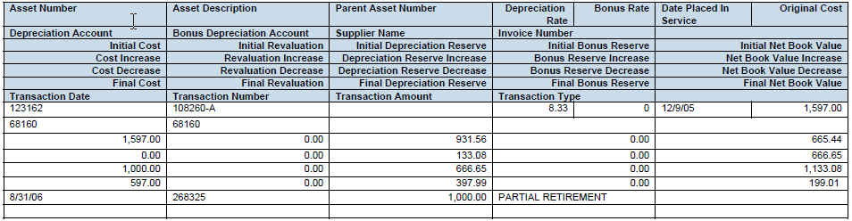 Report Run 5: Run Asset Register for period with all Transactions (All assets) Period From/To: 08-06 Report Output: In this case we will be able to see data in both templates: Asset