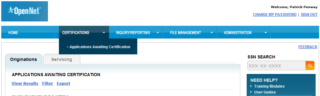 Certification Overview The Certify Applications functionality allows a school user to define the criteria (loan period date range, loan product, etc.
