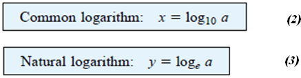 Logarithms To clarify the relationship between the variables of a logarithmic function, consider the mathematical equations: b is the base, x the power.
