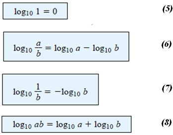 Example 2: Using the calculator, determine the logarithm of the following numbers: a) Log 10 64 b) log e 64 c) log 10 1600 d) log 10 8000 N.B.