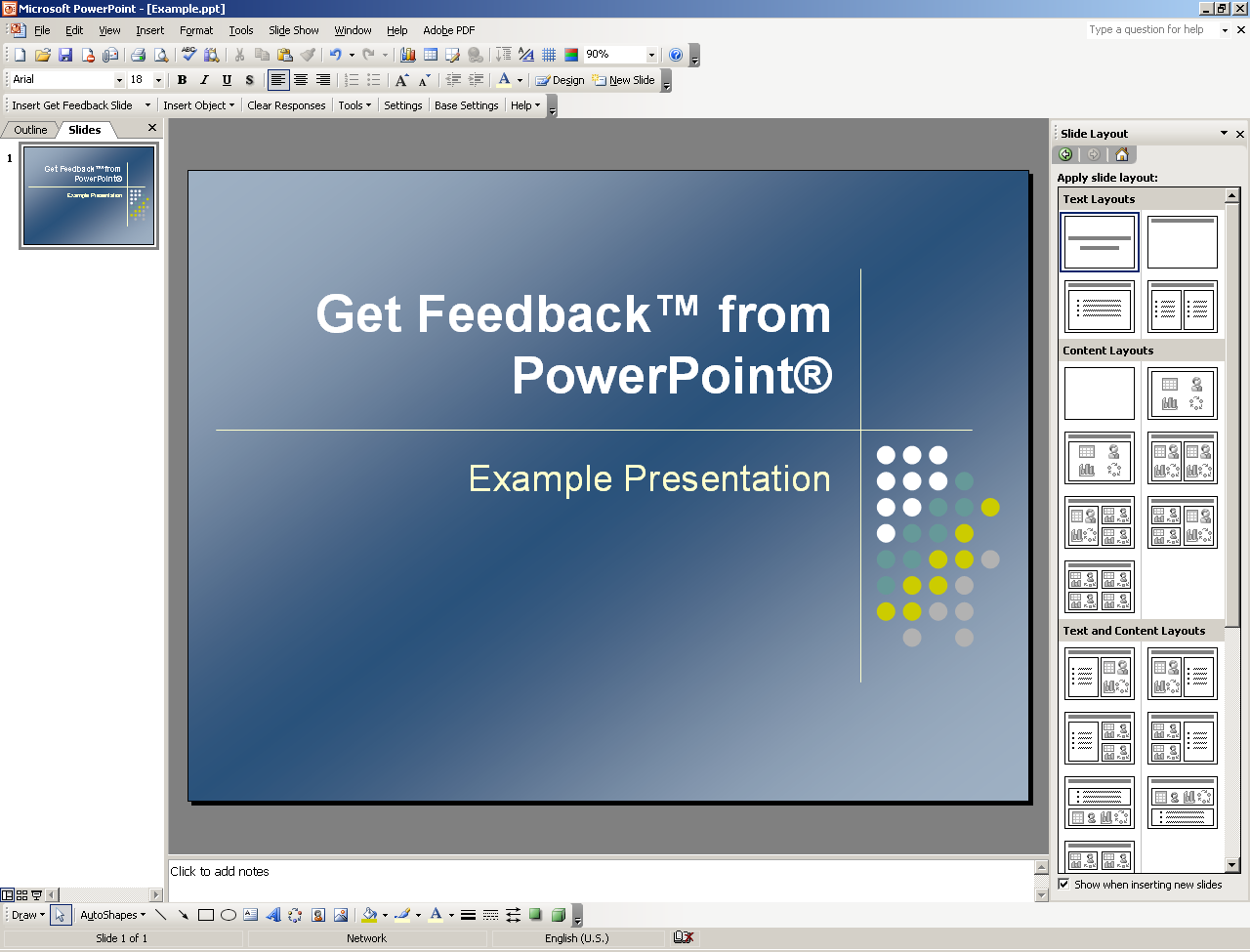 Step 1: Create Get Feedback from PowerPoint Slides Click the New Blank Document icon to create a new presentation. Pick a slide layout, color scheme and default design template as required.