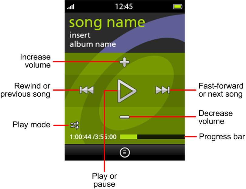 Music Player The phone plays the first song in the all songs list, and then plays the rest of the songs in the list. Select a specific genre, artist, album, or song: a.