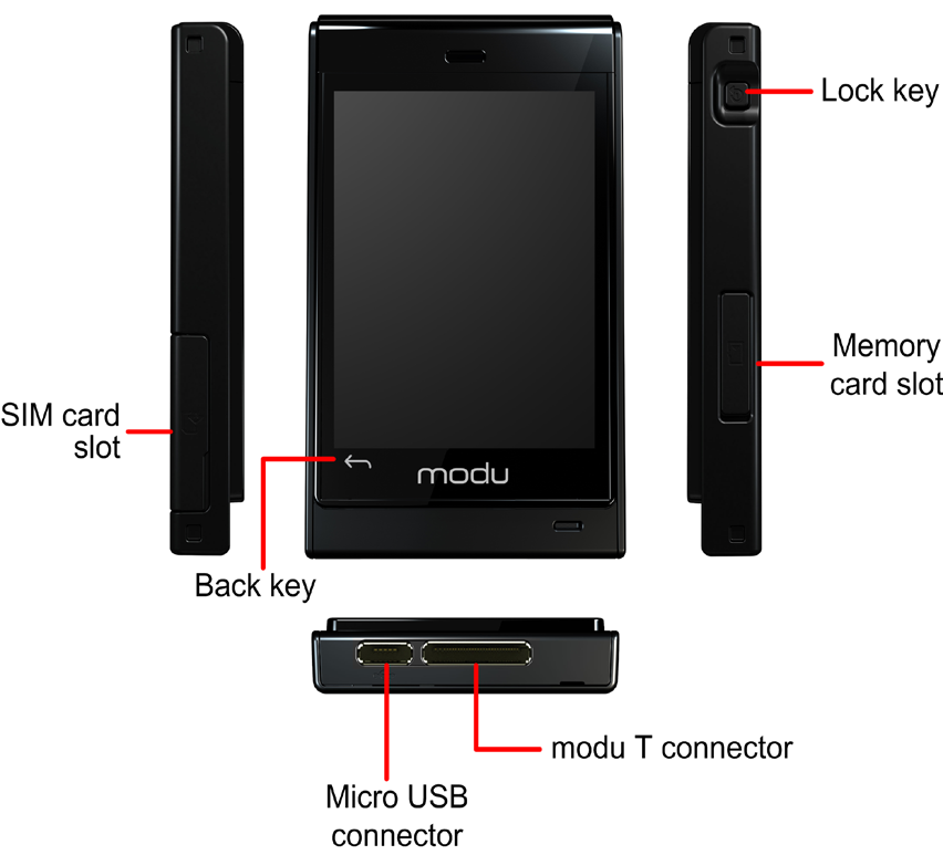 Getting started Getting started Your modu T phone Your modu T phone has the following components: A touch screen An SD memory card A micro USB port, where you connect your modu