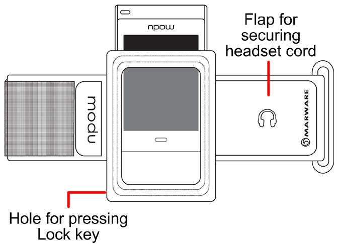sportify While your modu T phone is in the armband, you can press the Lock key on your modu T phone, if necessary. The touch screen is fully operable when your modu T phone is in the armband.
