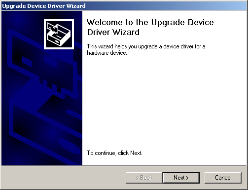 3-18 Install the Driver in Windows 2000 6. Click on the Driver tab, then click Update Driver. You see the Upgrade Device Driver Wizard. 7. Click Next. 8.