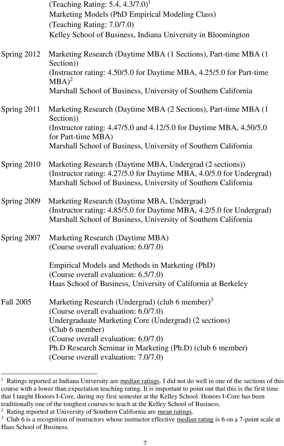 25/5.0 for Part-time MBA) 2 Marshall School of Business, University of Southern California Spring 2011 Marketing Research (Daytime MBA (2 Sections), Part-time MBA (1 Section)) (Instructor rating: 4.