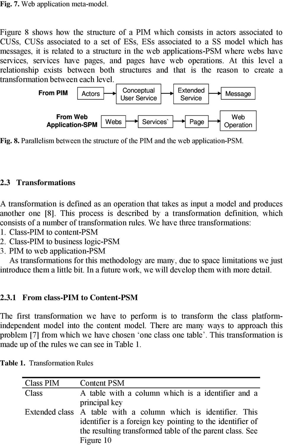 in the web applications-psm where webs have services, services have pages, and pages have web operations.