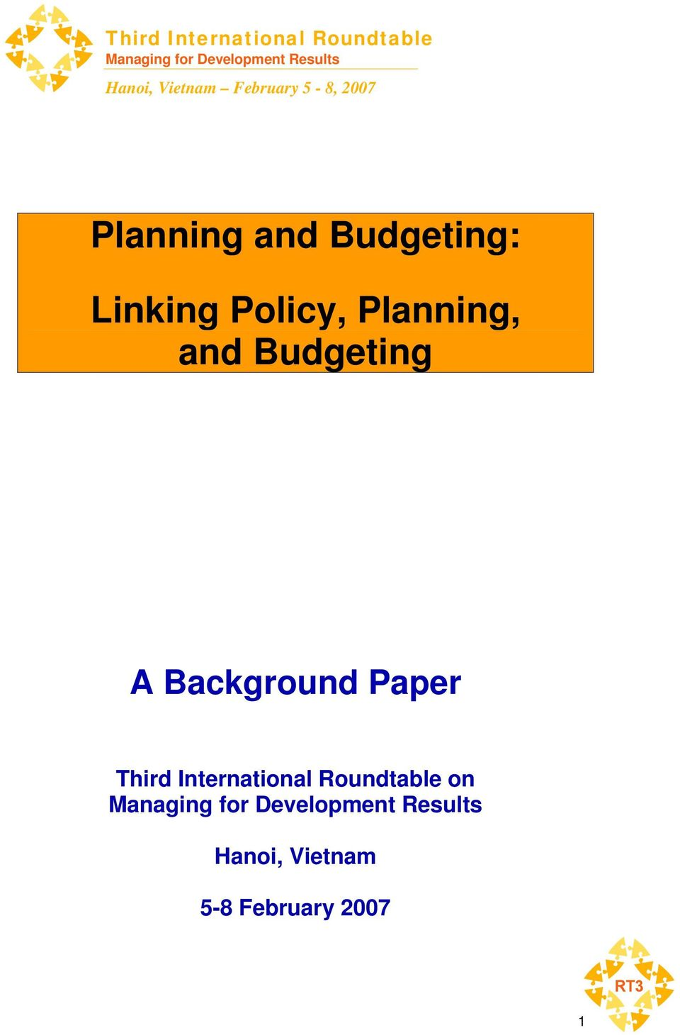 Planning, and Budgeting A Background Paper Third International