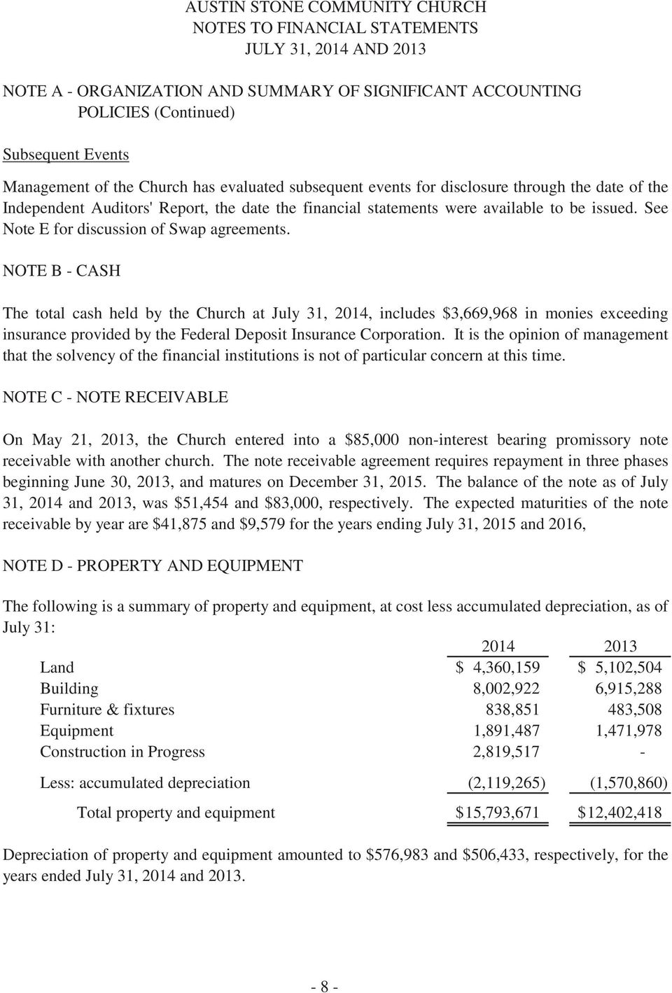 NOTE B - CASH The total cash held by the Church at July 31, 2014, includes $3,669,968 in monies exceeding insurance provided by the Federal Deposit Insurance Corporation.