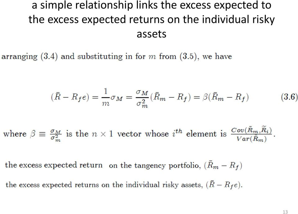 excess expected returns on