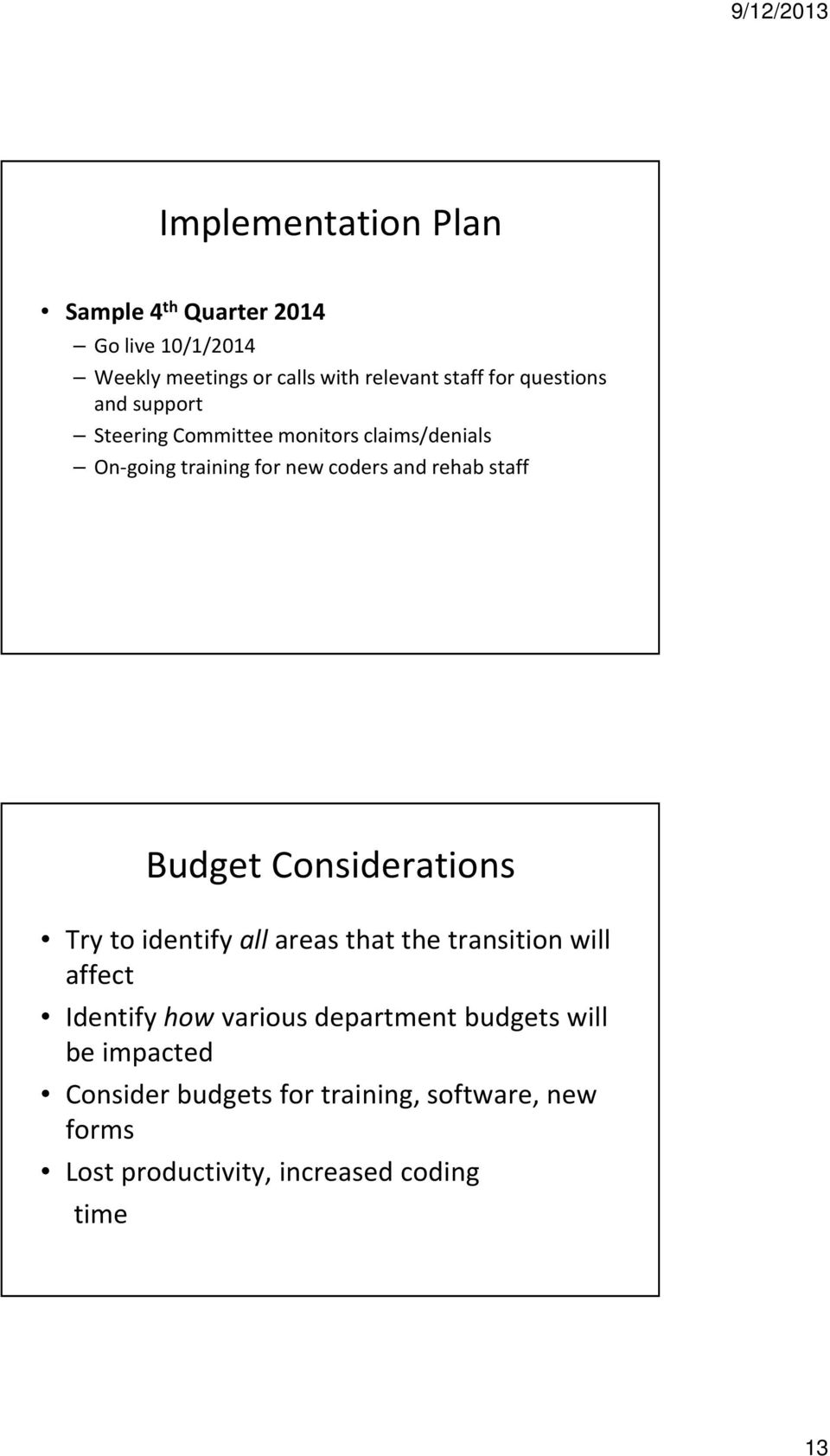 Budget Considerations Try to identify allareas that the transition will affect Identify howvarious department