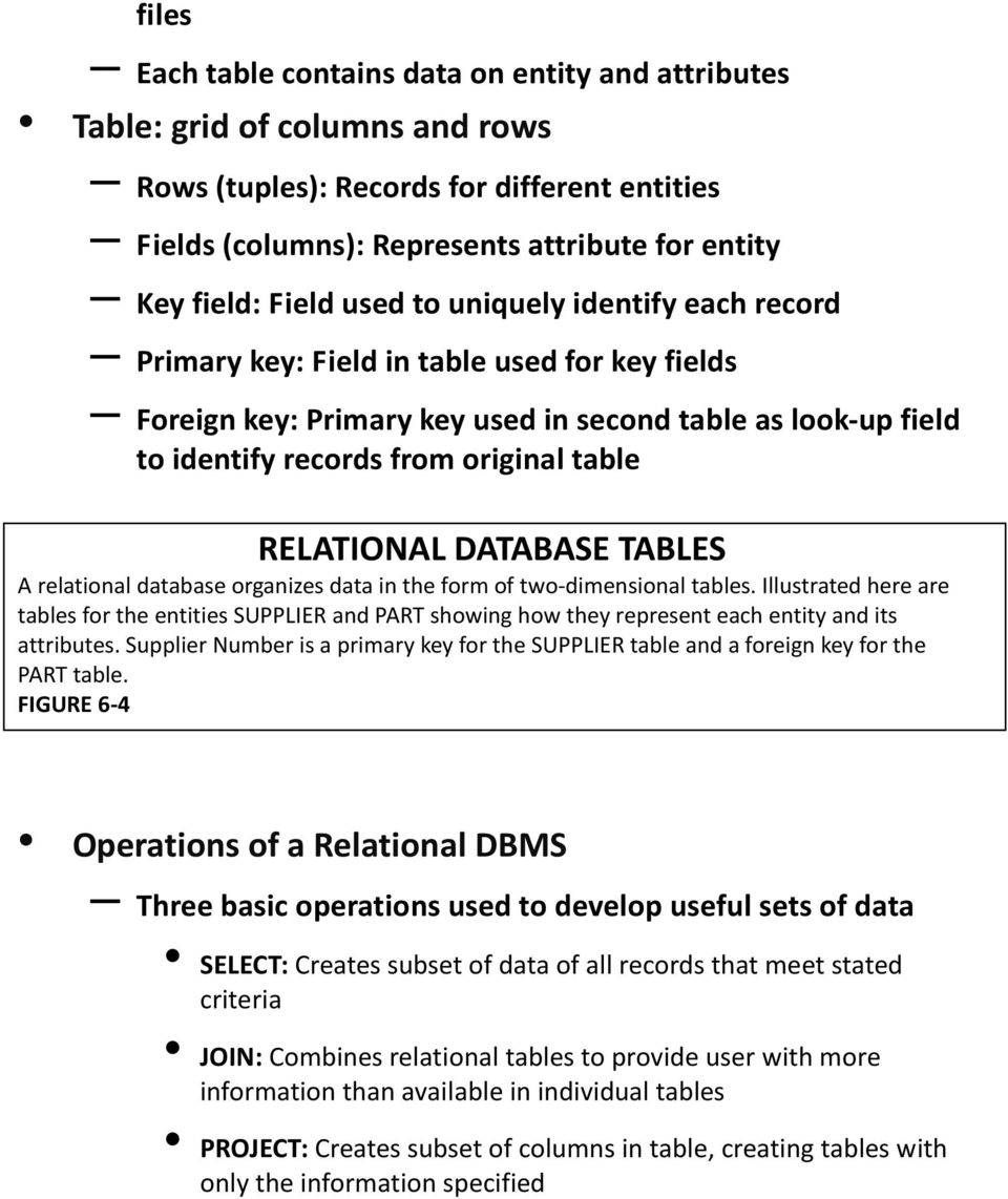 RELATIONAL DATABASE TABLES A relational database organizes data in the form of two-dimensional tables.