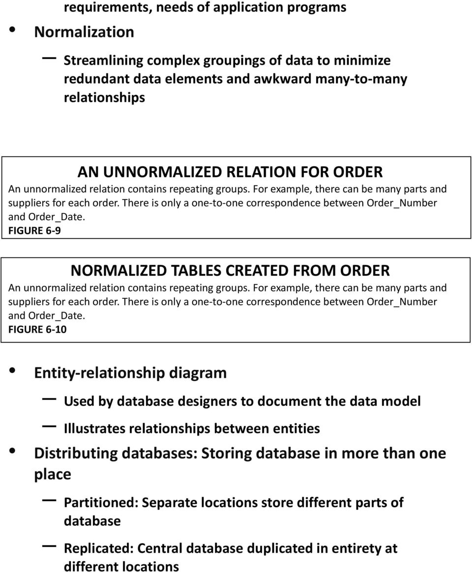 There is only a one-to-one correspondence between Order_Number and Order_Date. FIGURE 6-9 NORMALIZED TABLES CREATED FROM ORDER An unnormalized relation contains repeating groups.
