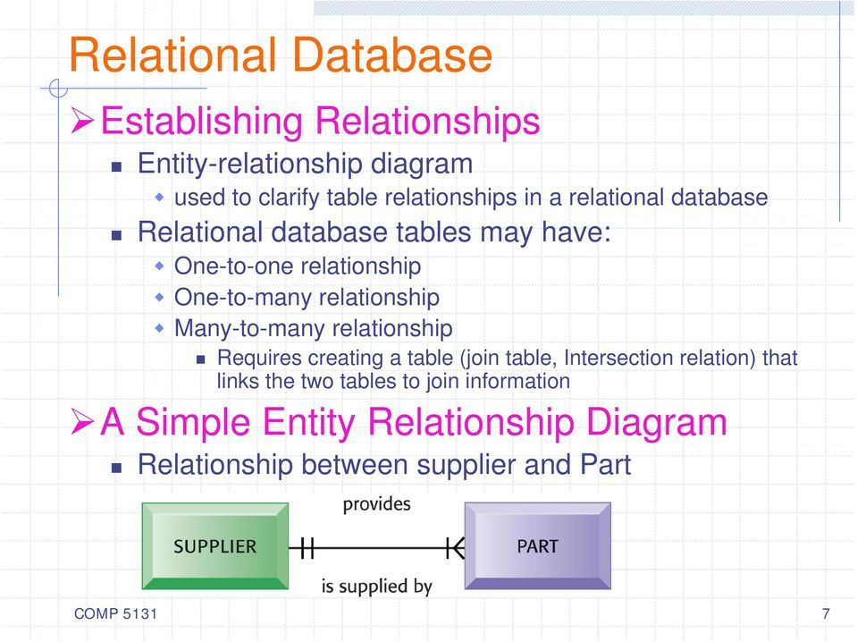 Many-to-many relationship Requires creating a table (join table, Intersection relation) that links the two