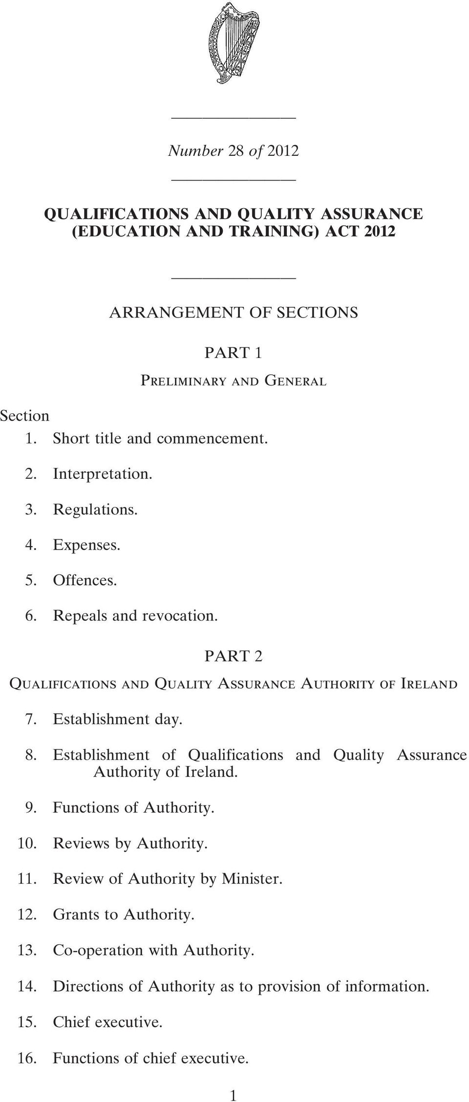 PART 2 Qualifications and Quality Assurance Authority of Ireland 7. Establishment day. 8. Establishment of Qualifications and Quality Assurance Authority of Ireland. 9.