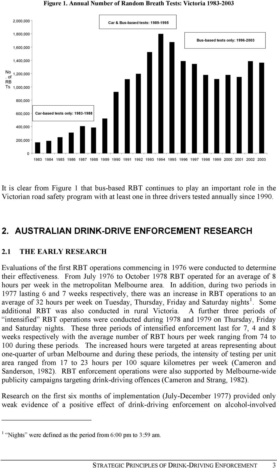 It is clear from Figure 1 that bus-based RBT continues to play an important role in the Victorian road safety program with at least one in three drivers tested annually since 1990. 2.
