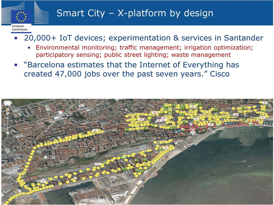 participatory sensing; public street lighting; waste management Barcelona estimates