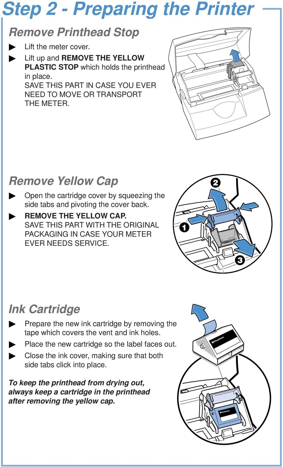 SAVE THIS PART WITH THE ORIGINAL PACKAGING IN CASE YOUR METER EVER NEEDS SERVICE. Ink Cartridge Prepare the new ink cartridge by removing the tape which covers the vent and ink holes.