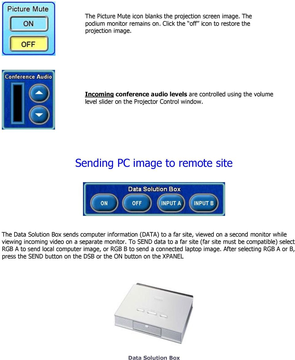 Sending PC image to remote site The Data Solution Box sends computer information (DATA) to a far site, viewed on a second monitor while viewing incoming video on a