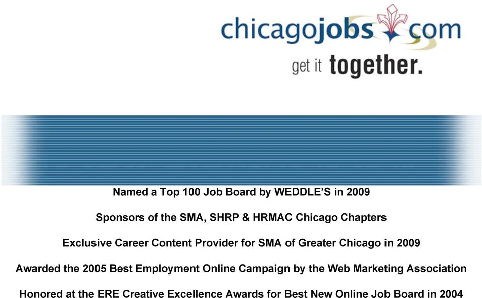 2009 Awarded the 2005 Best Employment Online Campaign by the Web Marketing