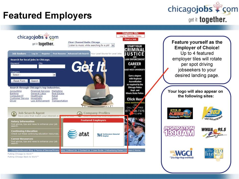 Up to 4 featured employer tiles will rotate per spot