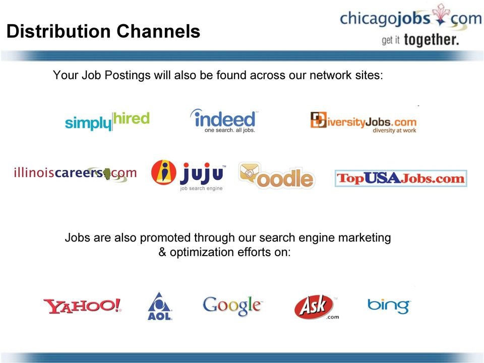 sites: Jobs are also promoted through our