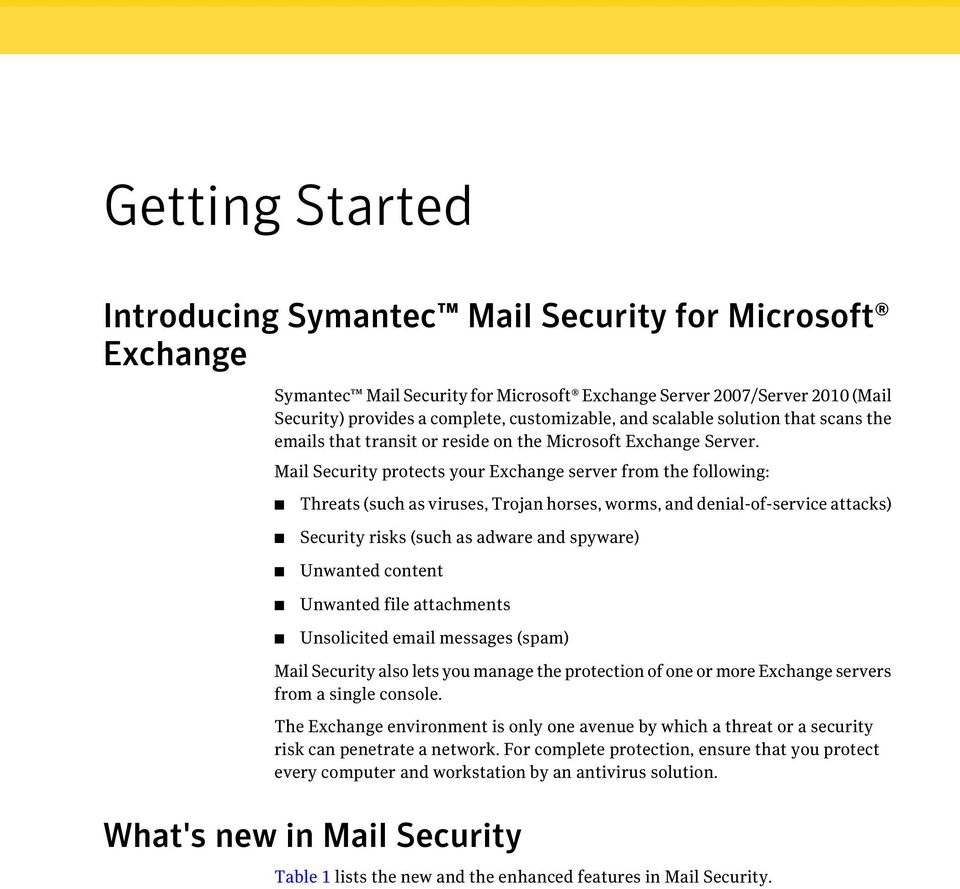 Mail Security protects your Exchange server from the following: Threats (such as viruses, Trojan horses, worms, and denial-of-service attacks) Security risks (such as adware and spyware) Unwanted