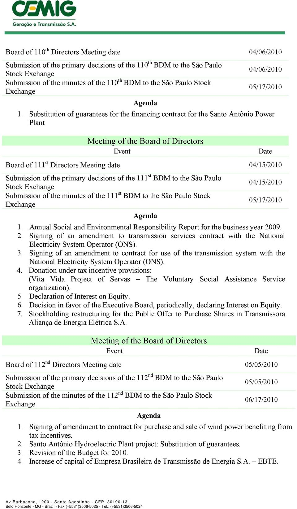 Substitution of guarantees for the financing contract for the Santo Antônio Power Plant Board of 111 st Directors Meeting date 04/15/2010 Submission of the primary decisions of the 111 st BDM to the