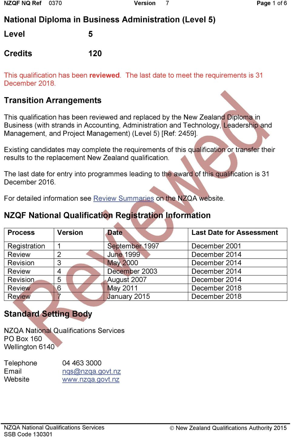 Transition Arrangements This qualification has been reviewed and replaced by the New Zealand Diploma in Business (with strands in Accounting, Administration and Technology, Leadership and Management,