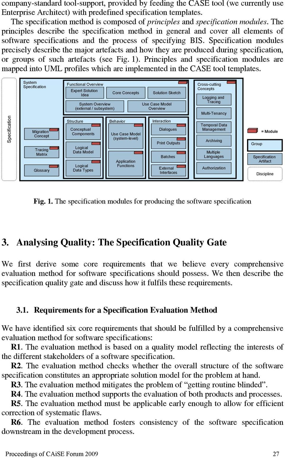 The principles describe the specification method in general and cover all elements of software specifications and the process of specifying BIS.