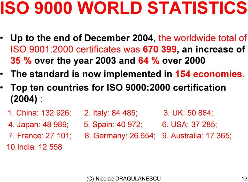 Top ten countries for ISO 9000:2000 certification (2004) : 1. China: 132 926; 2. Italy: 84 485; 3. UK: 50 884; 4.
