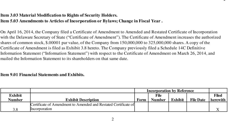 The Certificate of Amendment increases the authorized shares of common stock, $.00001 par value, of the Company from 150,000,000 to 325,000,000 shares.