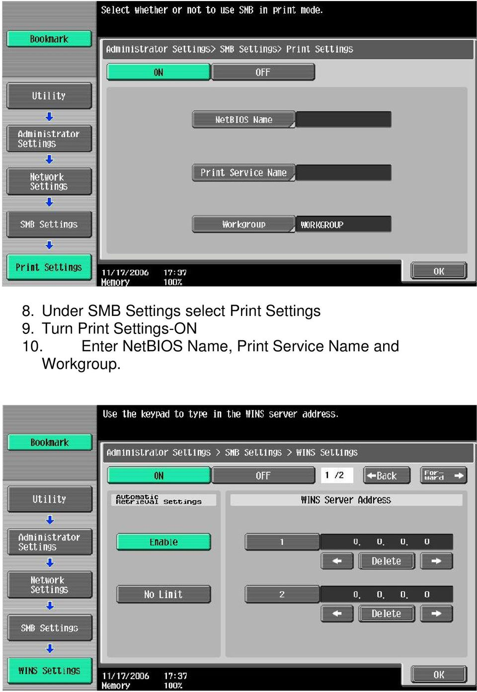 Turn Print Settings-ON 10.