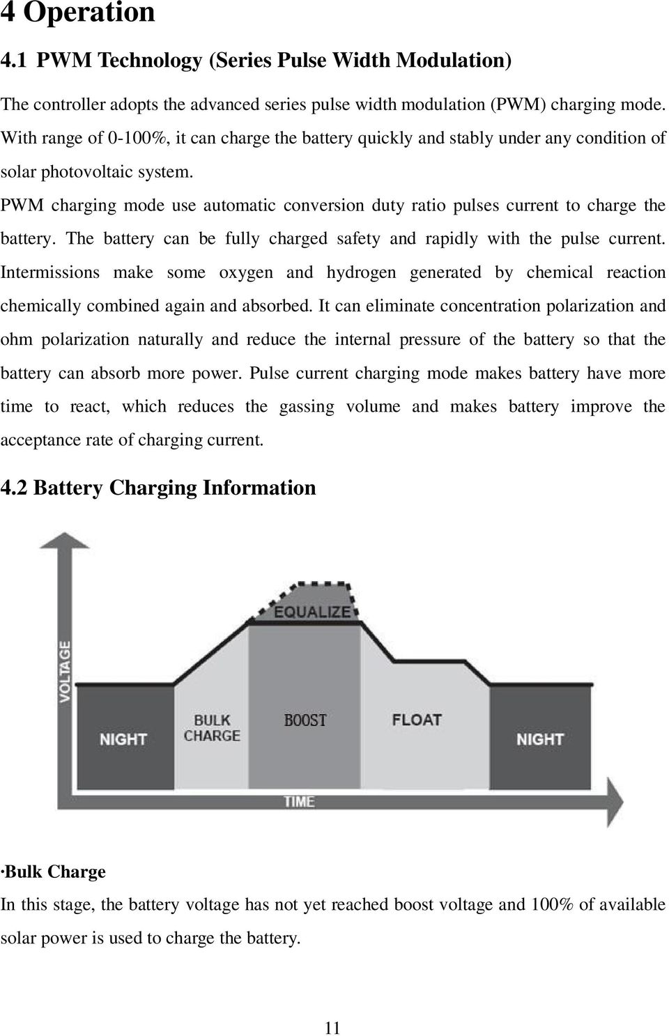 PWM charging mode use automatic conversion duty ratio pulses current to charge the battery. The battery can be fully charged safety and rapidly with the pulse current.