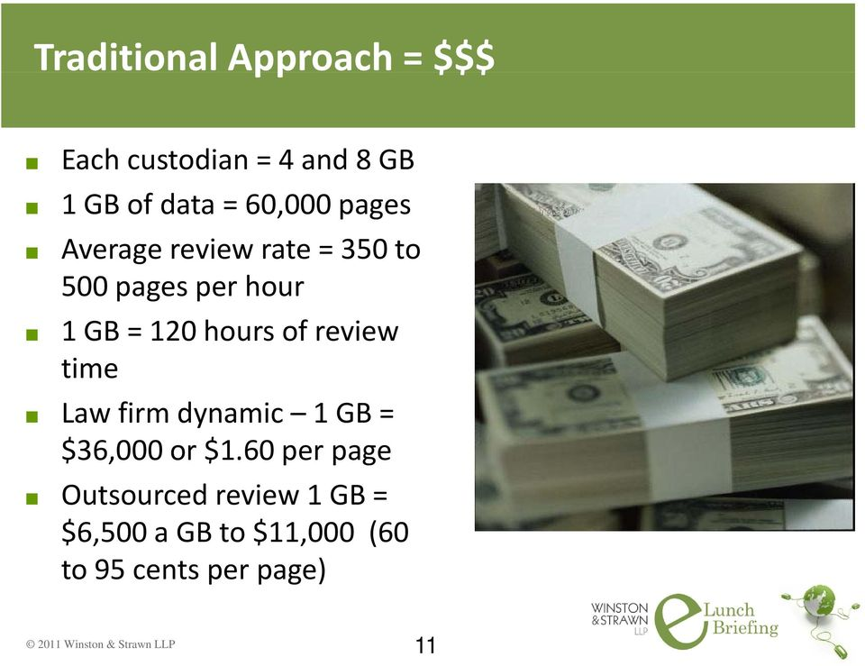 hours of review time Law firm dynamic 1 GB = $36,000 or $1.