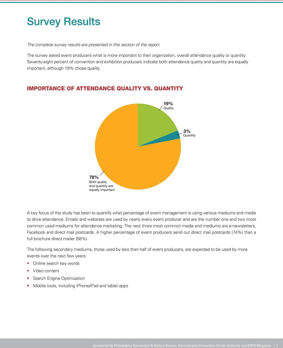 Seventy-eight percent of convention and exhibition producers indicate both attendance quality and quantity are equally important, although 19% chose quality. IMPORTANCE OF ATTENDANCE QUALITY VS.