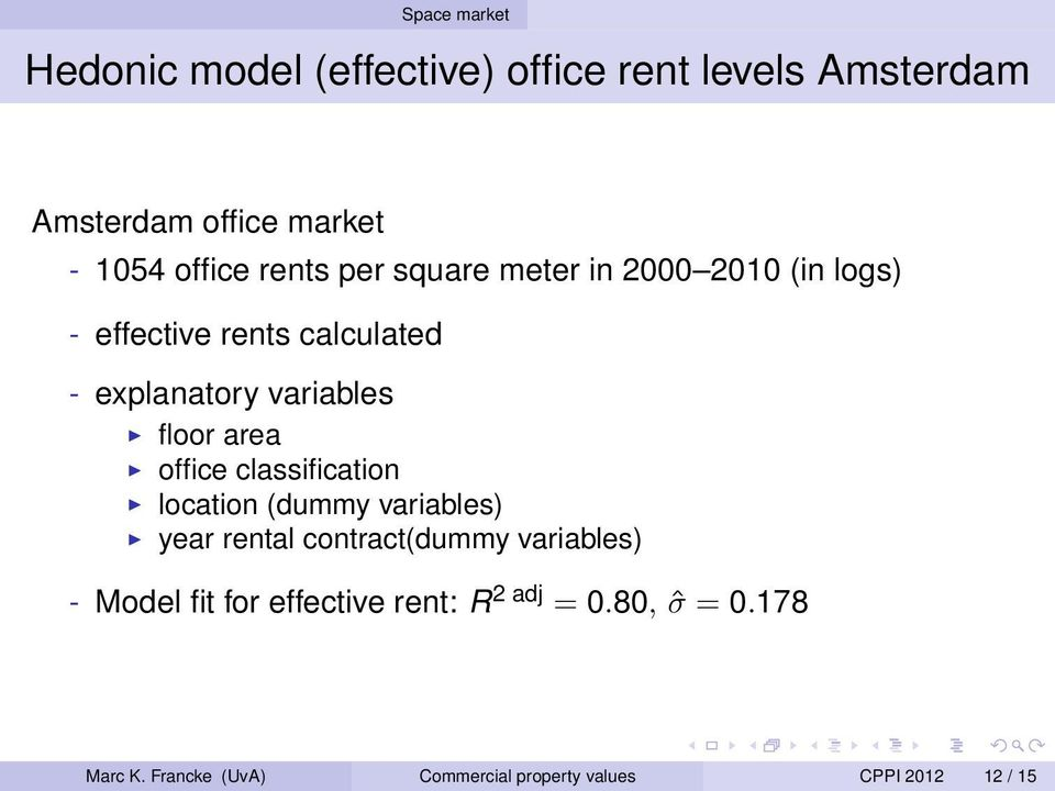 area office classification location (dummy variables) year rental contract(dummy variables) - Model fit