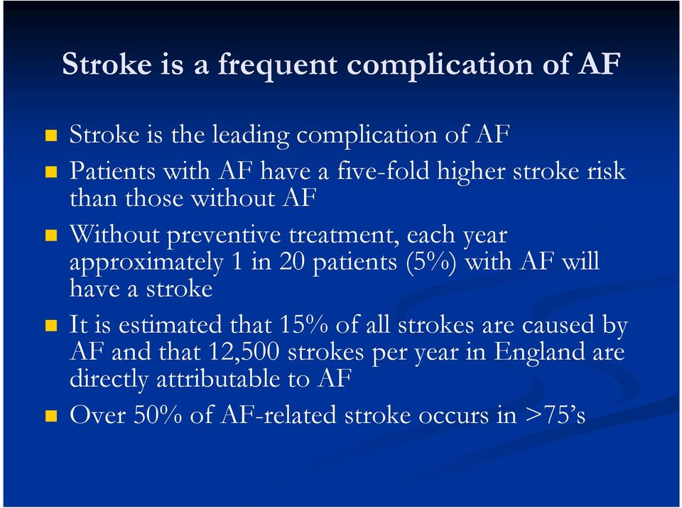 20 patients (5%) with AF will have a stroke It is estimated that 15% of all strokes are caused by AF and that