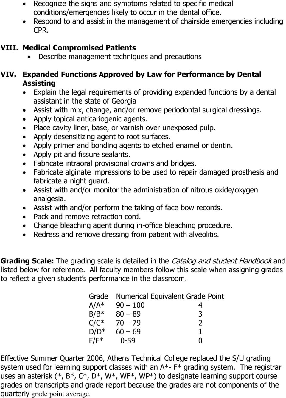 Expanded Functions Approved by Law for Performance by Dental Assisting Explain the legal requirements of providing expanded functions by a dental assistant in the state of Georgia Assist with mix,