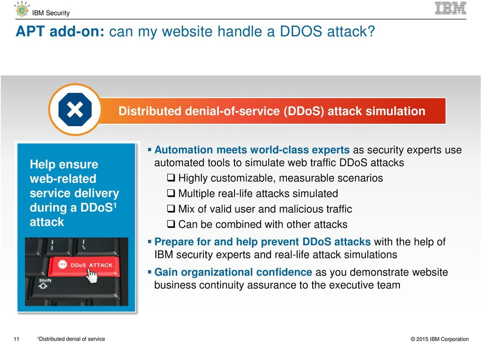experts use automated tools to simulate web traffic DDoS attacks Highly customizable, measurable scenarios Multiple real-life attacks simulated Mix of valid user and