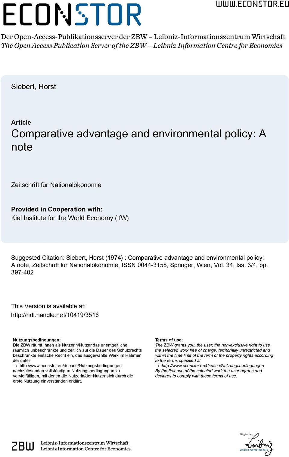 eu Der Open-Access-Publikationsserver der ZBW Leibniz-Informationszentrum Wirtschaft The Open Access Publication Server of the ZBW Leibniz Information Centre for Economics Siebert, Horst Article