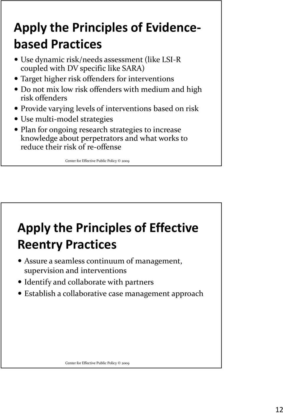 for ongoing research strategies to increase knowledge about perpetrators and what works to reduce their risk of re-offense Apply the Principles of Effective Reentry