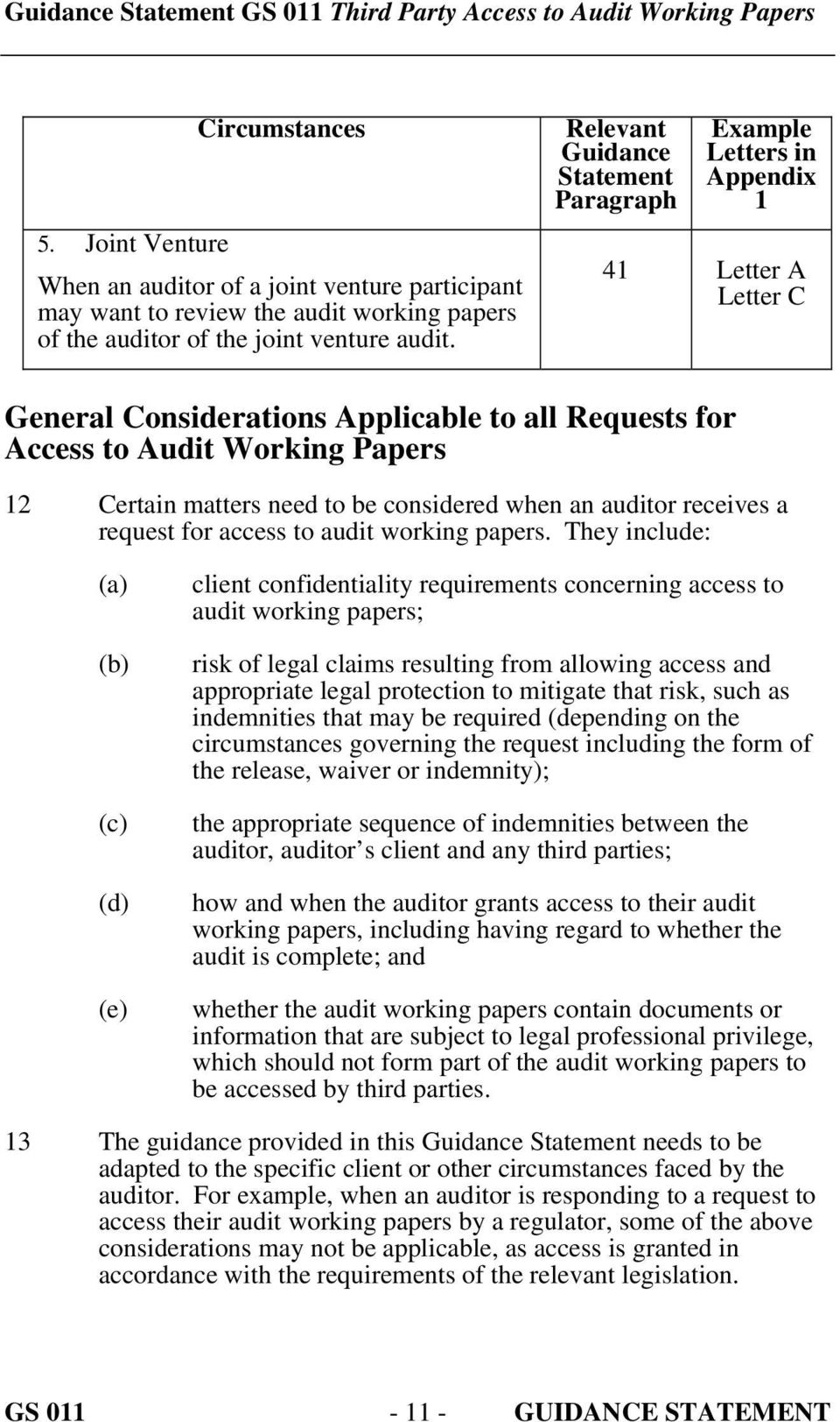 to be considered when an auditor receives a request for access to audit working papers.