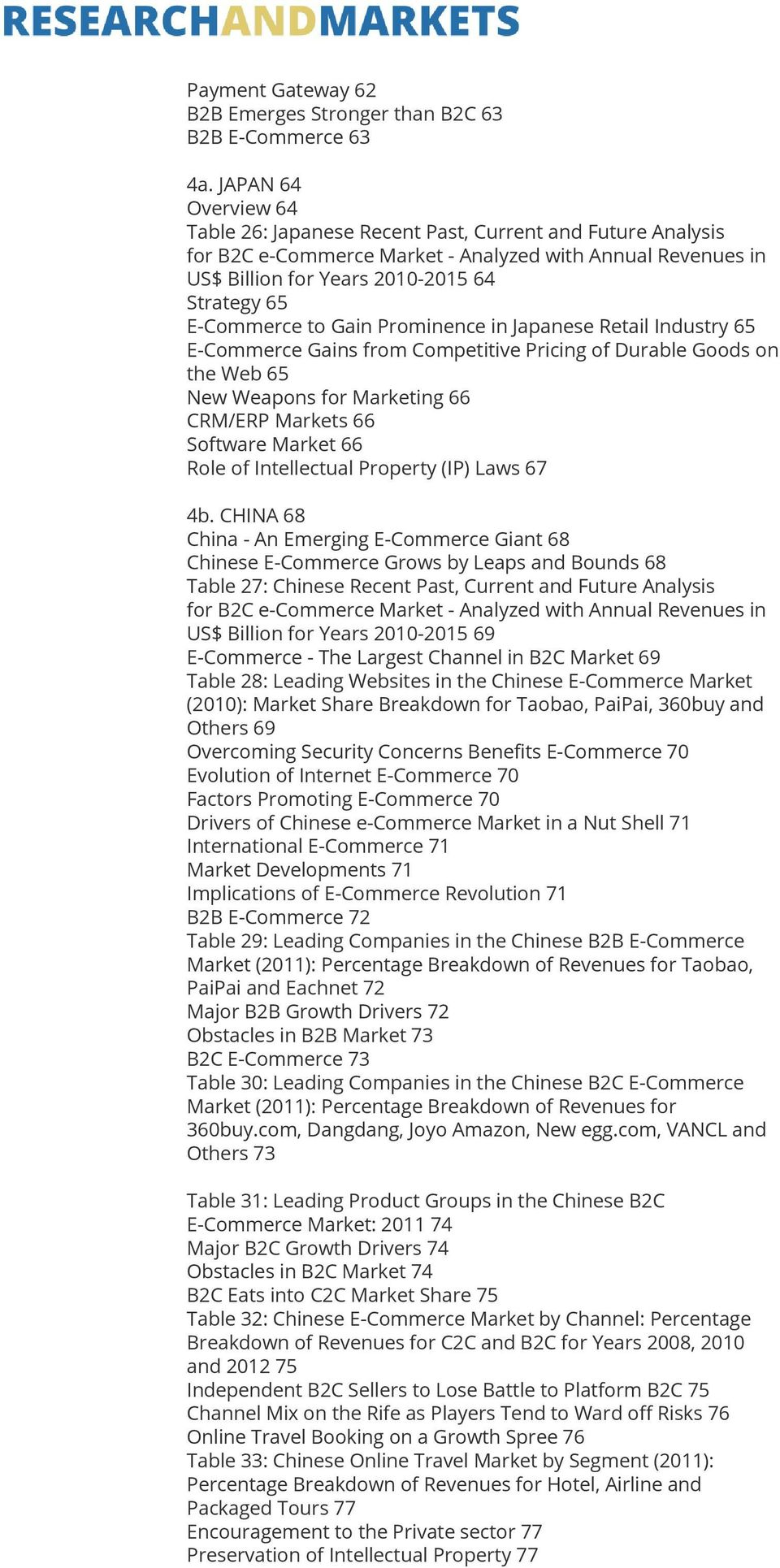 Gains from Competitive Pricing of Durable Goods on the Web 65 New Weapons for Marketing 66 CRM/ERP Markets 66 Software Market 66 Role of Intellectual Property (IP) Laws 67 4b.
