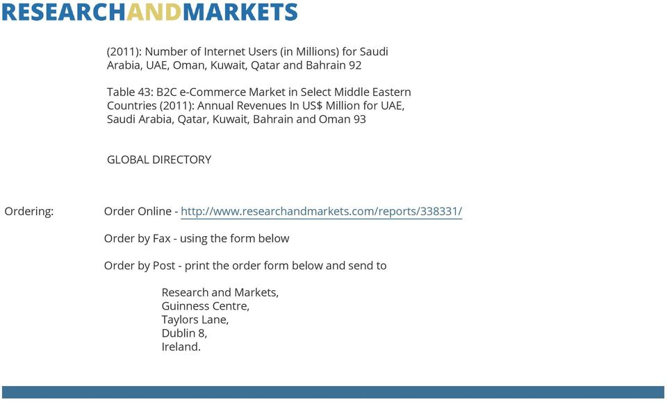 Oman 93 GLOBAL DIRECTORY Ordering: Order Online - http://www.researchandmarkets.